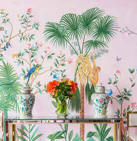 Amazonia in Standard Color on Light Pink Chinoiserie Wallpaper