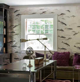 Fishes On Off White - de Gournay Fish Wa