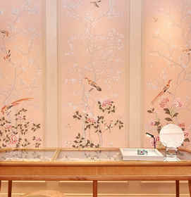 Earlham in Customized Color on Soft Pink Chinoiserie Wallpaper