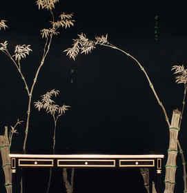 Bamboo on Pitch - de Gournay Wallpaper o