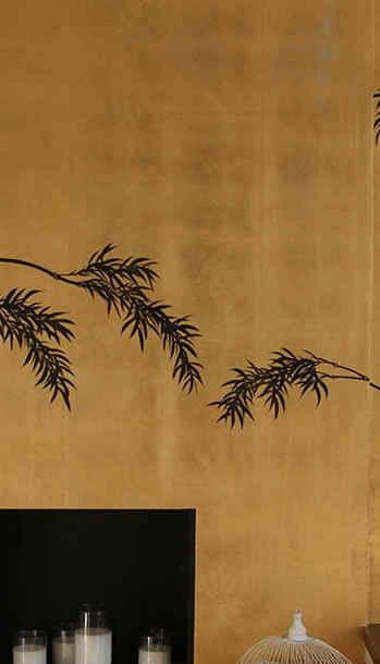 Bamboo On  Gold - Japanese Design Wallpa