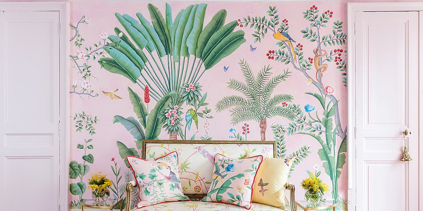 Amazonia Design Chinoiserie Wallpaper In Vivid Special Colorway On Customized Pink Silk Wallpaper