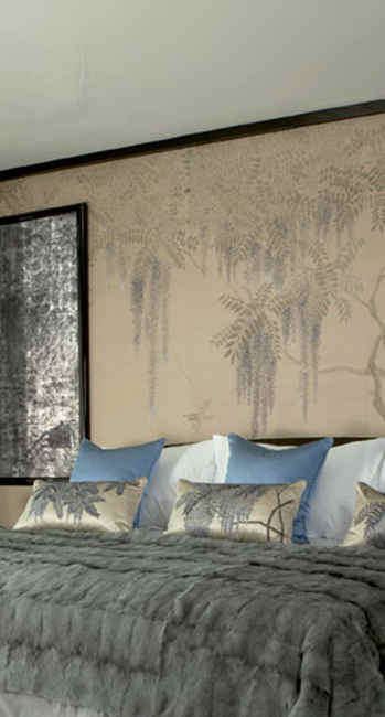 Wisteria on Brown - Japanese Design Wall