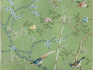 Green Chinoiserie Wallpaper Panels