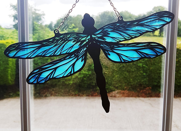 Handcrafted Stained Glass Wispy Dragonfly Suncatcher in 4 colors