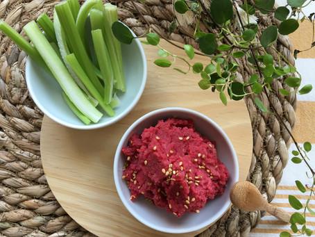 Hummus de remolacha con lenteja roja