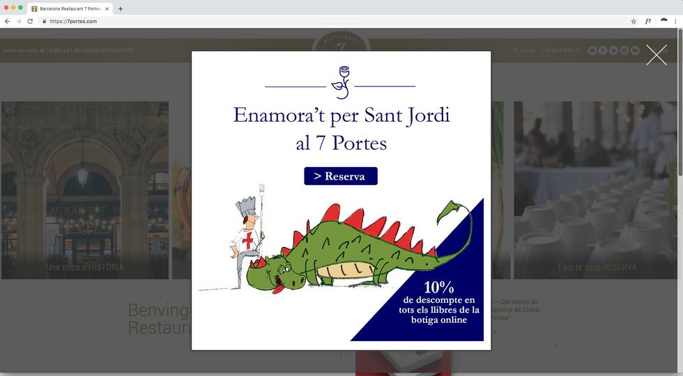Pop-up web Sant Jordi Restaurant 7 Portes