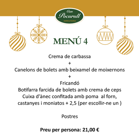 Menús  catering nadal Can Pocurull
