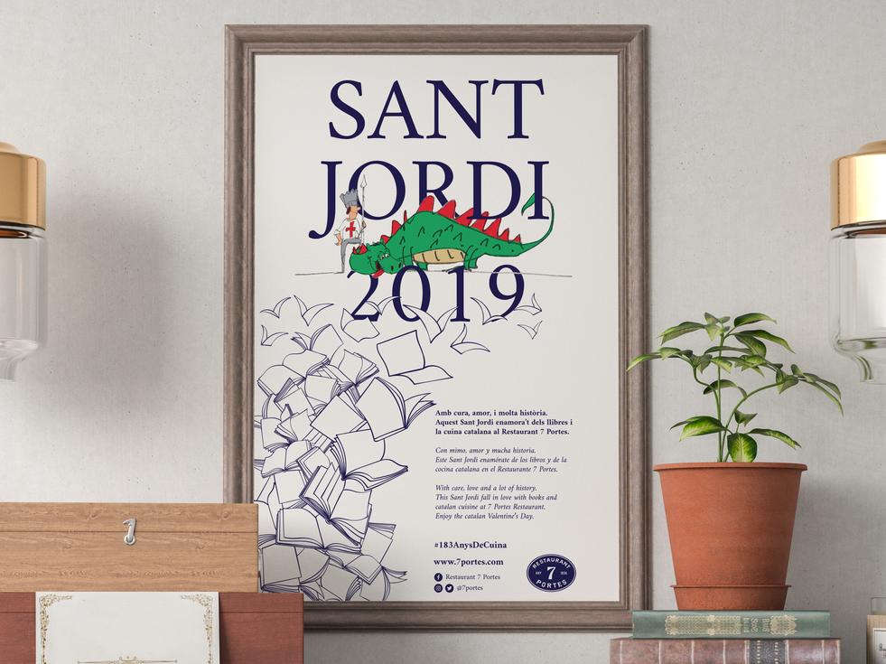 Cartel Sant Jordi Restaurant 7 Portes