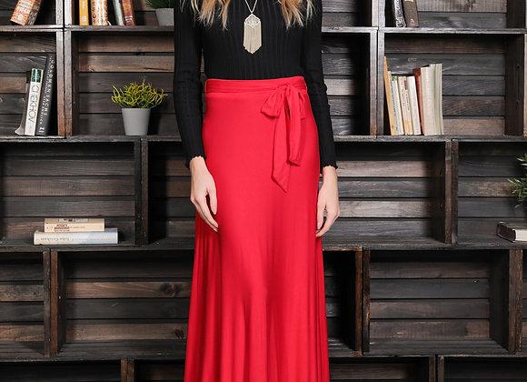 High Waisted A-line Maxi Skirt