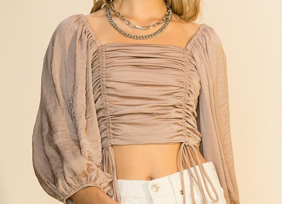 Balloon Sleeve Ruched Crop Top
