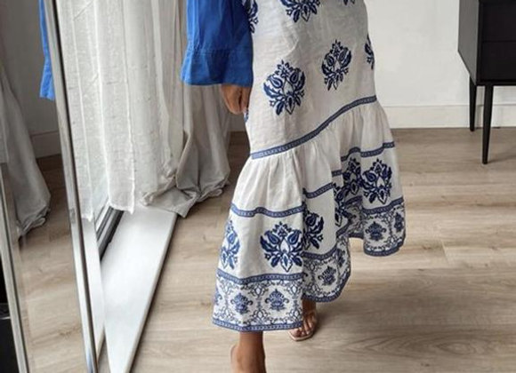 Casual Blue Embroidery Trumpet Skirt
