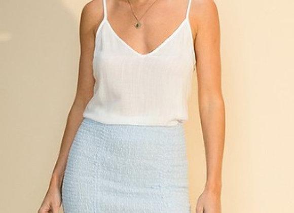 Eyelet Drawstring Smocked Mini Skirt