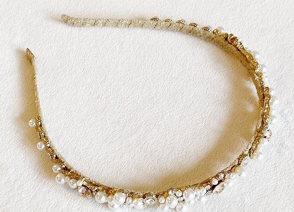 Gold Colored Pearl Headband