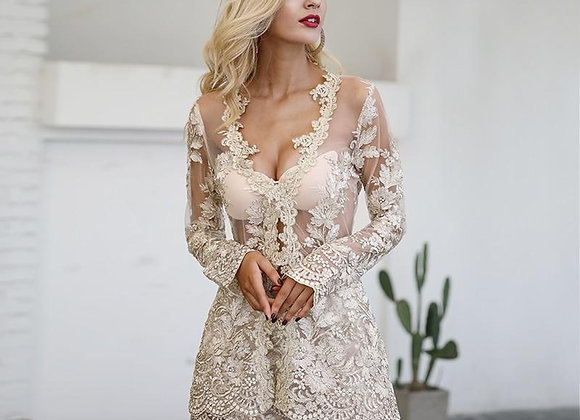 Lace Two-Piece Embroidery Backless Play Suit