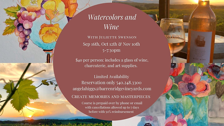 Watercolors and Wine 5-7:30 with Juliette Swenson