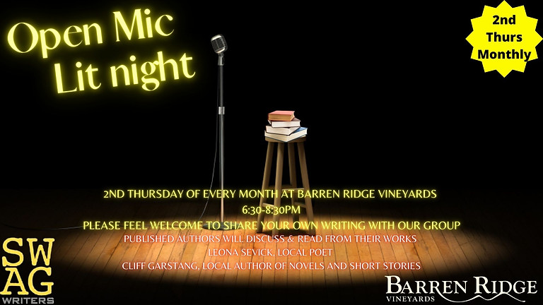 """2nd THURSDAYS of the Month Open Mic """"LIT"""" Night at Barren Ridge 