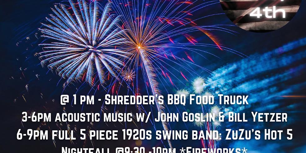 Fourth of July at BRV: Shredders BBQ, Acoustic & Full Swing Band  & Fireworks