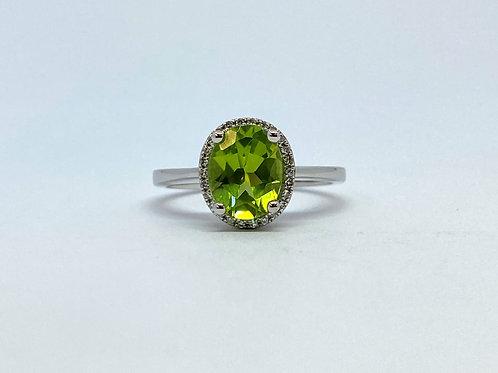 Peridot and Diamond Halo Ring