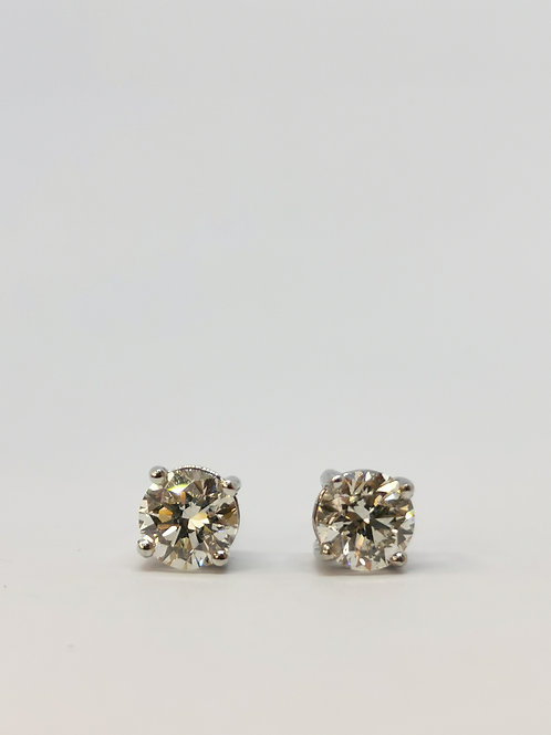 18ct White Gold 1.61ct Round Brilliant Cut Diamond Studs