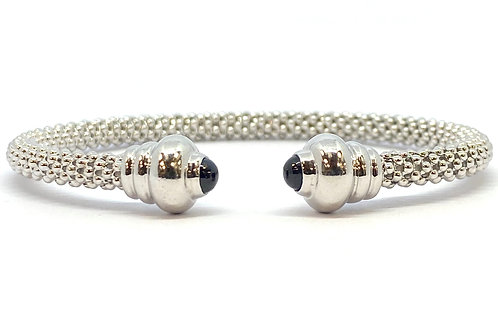 9ct White Gold Bead & Sapphire Bangle