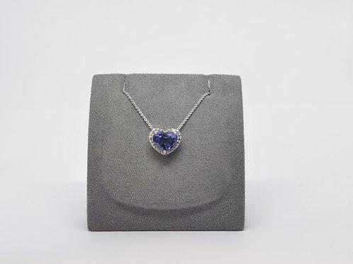 Heart Shaped Sapphire and Diamond Pendant