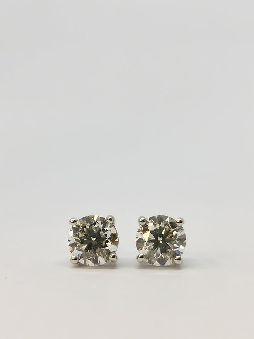 18ct White Gold 2.00ct Round Brilliant Cut Diamond Studs