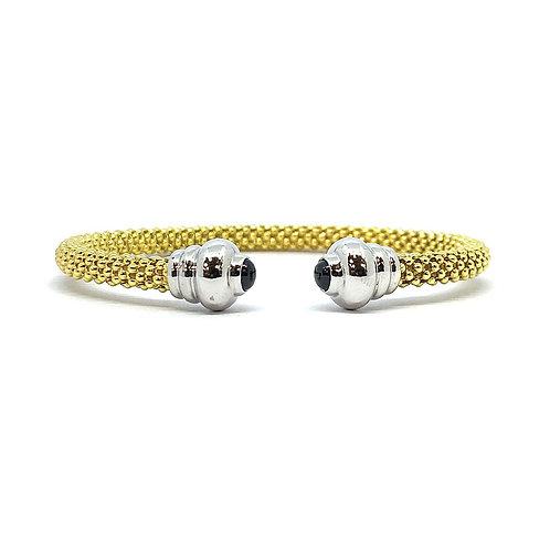 9ct Yellow Gold Bead & Sapphire Bangle