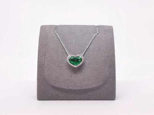 Heart Shaped Emerald and Diamond Pendant