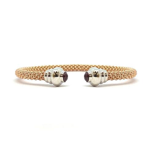 9ct Rose Gold Bead & Sapphire Bangle