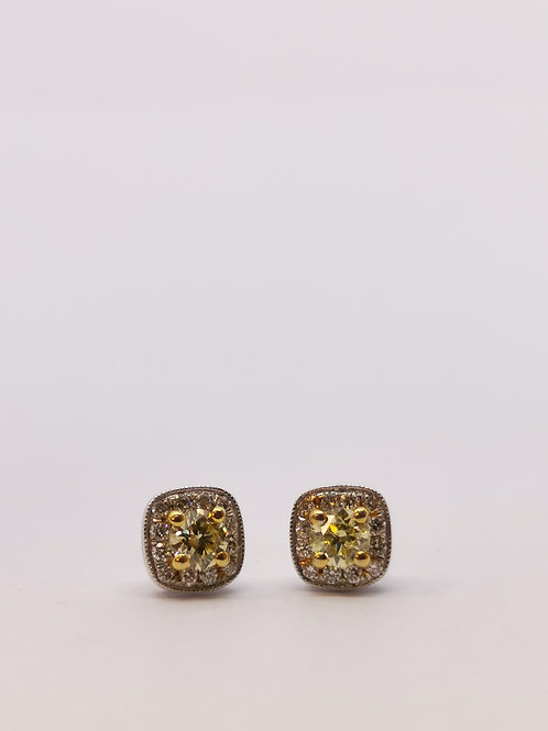 18ct White Gold 0.37ct Yellow Diamond Cluster Studs