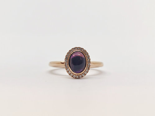 18ct Rose Gold Cabochon Amethyst and Diamond Cluster Ring