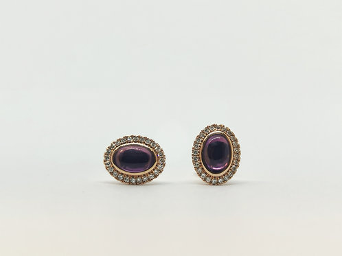 18ct Rose Gold Cabochon Amethyst and Diamond Cluster Studs