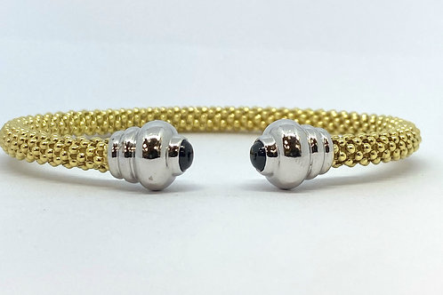 9ct Yellow Gold Bead & Sapphire Bangle