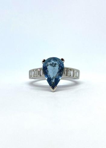 Pear Aqua Marine and Diamond Ring Front.jpg