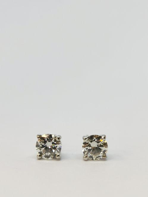 18ct White Gold 1.18ct Round Brilliant Cut Diamond Studs