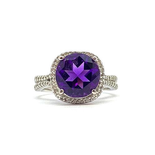 Amethyst and Diamond Halo Ring