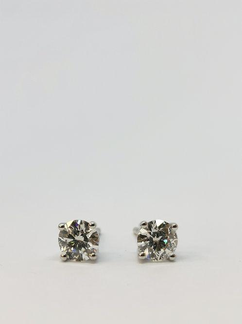 18ct White Gold 1.20ct Round Brilliant Cut Diamond Studs