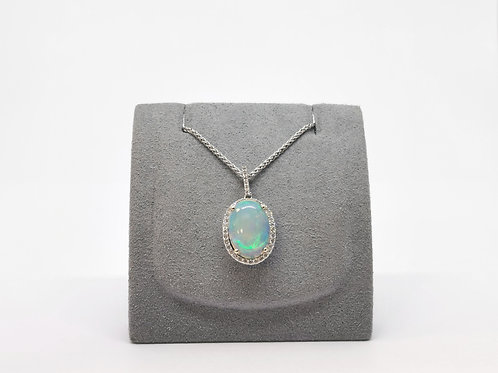 Cabochon Opal and Diamond Cluster Pendant
