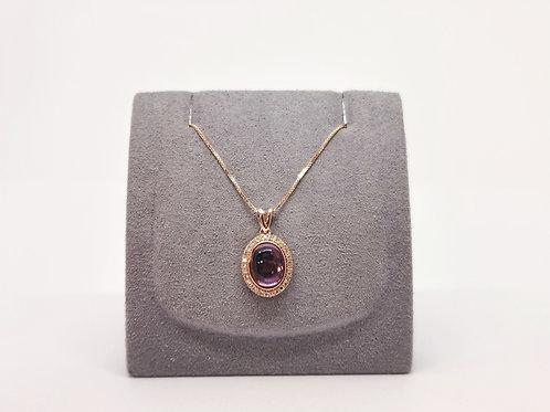 18ct Rose Gold Cabochon Amethyst and Diamond Pendant