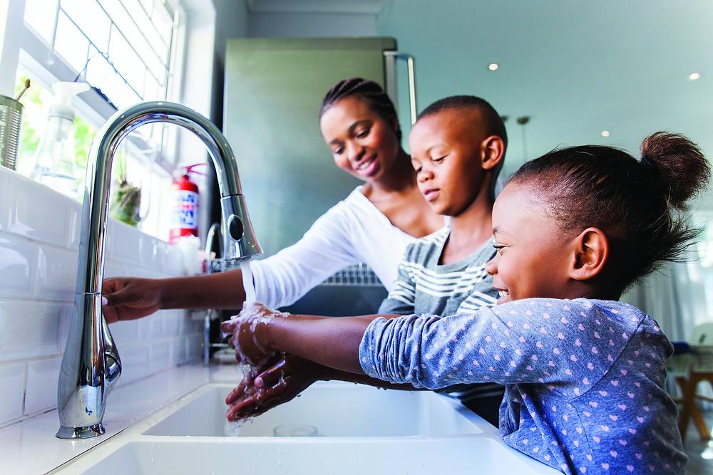 handwashing, healthy living, parent and kids washing hands