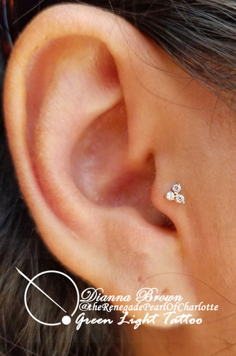 Tragus With a 14kt Yellow Gold and CZ Trinity