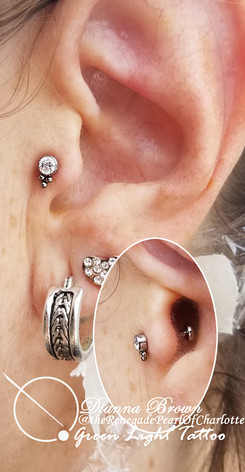 Fresh Tragus Piercing With a Haute Couture End from Leroi