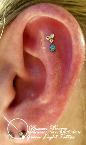 Helix Piercing with Trinity and Mint Green Stone