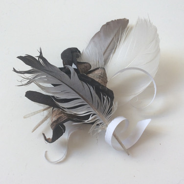 Feathers, Torn Paper and Banana Skin Composition 2018