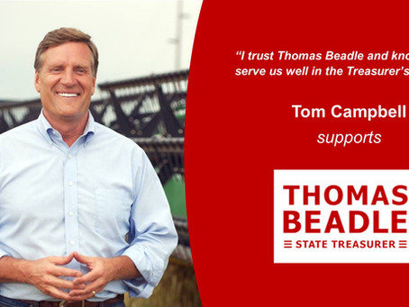 Tom Campbell Supports Beadle for State Treasurer