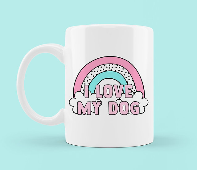 I Love My Dog Rainbow Mug