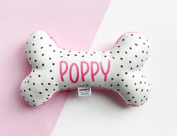 Personalised Polka Dot Bone Toy