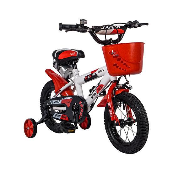 Bicicleta blanco y rojo con canasta