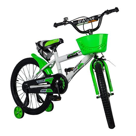 Bicicleta blanco y verde con canasta